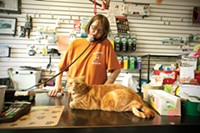 Ginny Smiley, owner of Smiley's Pet Pad, with Sam the cat