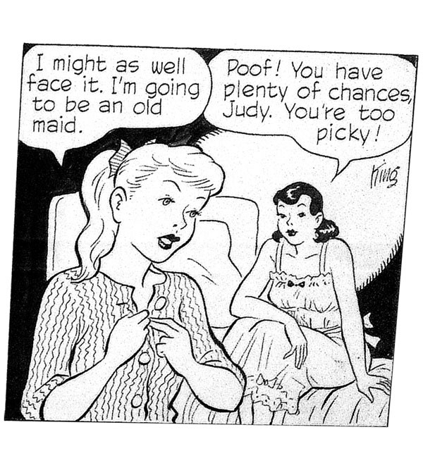 "Girl talk: panel from a 1958 ""Gasoline Alley"" strip, by Frank King"
