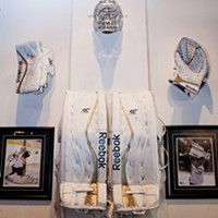 Blue Line Grille Goalie wall Photo by Heather Mull