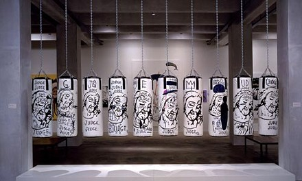 """God bullies: """"Ten Punching Bags (Last Supper),"""" by Andy Warhol and Jean-Michel Basquiat."""