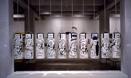 "God bullies: ""Ten Punching Bags (Last Supper),"" by Andy Warhol and Jean-Michel Basquiat."