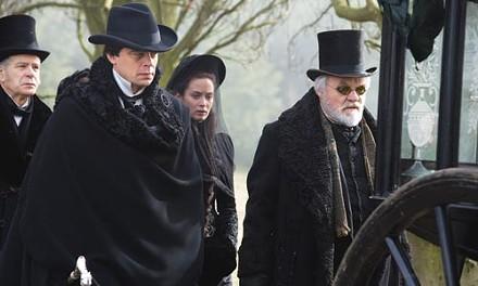 Goth night: Lawrence Talbot (Benicio del Toro), Gwen (Emily Blunt) and John Talbot (Anthony Hopkins)
