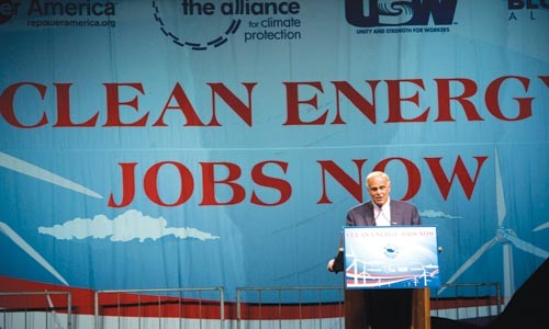 Gov. Ed Rendell speaks at Sept. 23's clean-energy-jobs rally at the Point.