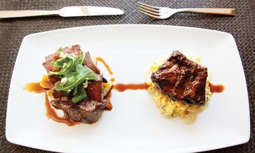Grilled filet with braised beef short ribs - HEATHER MULL