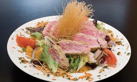 Grilled sesame tuna steak salad - HEATHER MULL