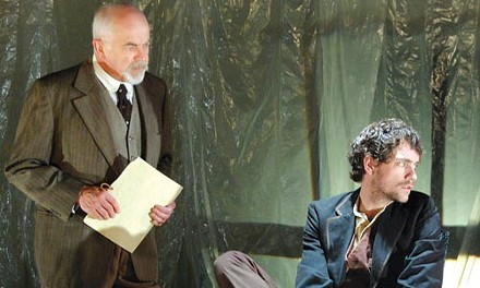 Guilt cage: Larry John Meyers and Joel Ripka in PICT's Crime & Punishment. Photo courtesy of Gianni Downs.