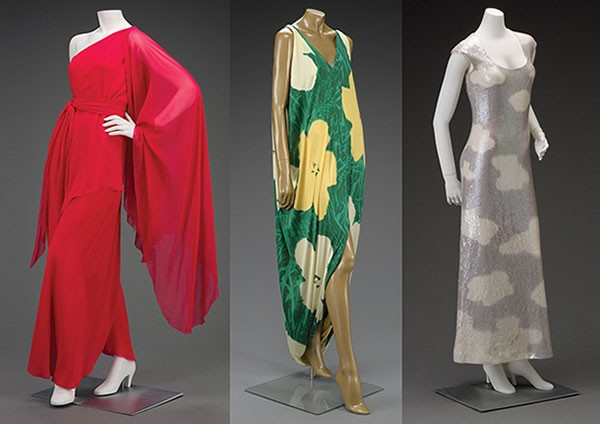 Halston evening dress, warhol, flowers painting