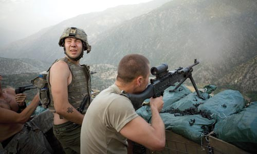 Hardly sweet valley high: Soldiers defend their mountain outpost.