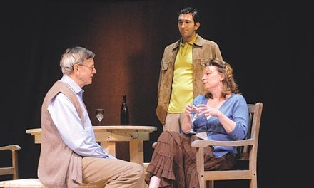 Hare today: Robert Haley (left), Jarrod DiGiorgi and Sheila McKenna in David Hare's The Vertical Hour, at Playhouse Rep - PHOTO COURTESY OF DREW YENCHAK, LIGHTHOUSE PHOTOGRAPHY
