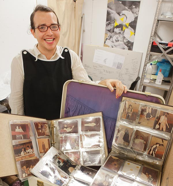 Harrison Apple, of the Pittsburgh Queer History Project, with some of the items that will be part of his upcoming exhibit, Lucky After Dark, an archival look at the city's earliest after-hours gay social clubs