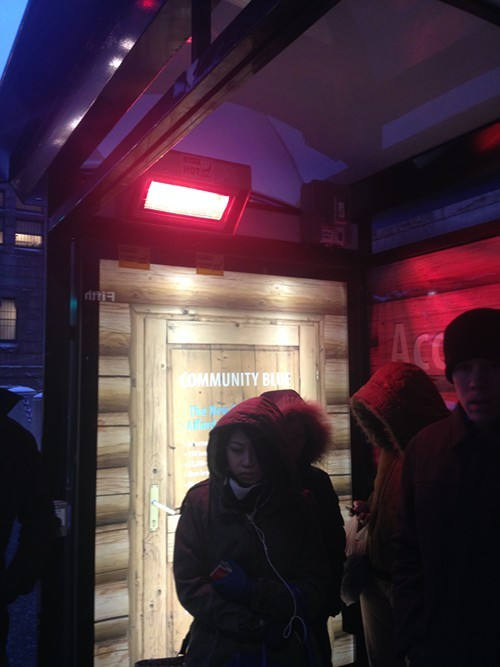 Heated bus stop at Fifth and Ross