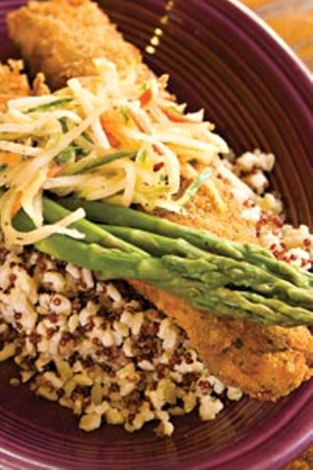 Herb-crusted wild Alaskan pollock, with vegetable slaw, and organic brown rice and asparagus - BRIAN KALDORF