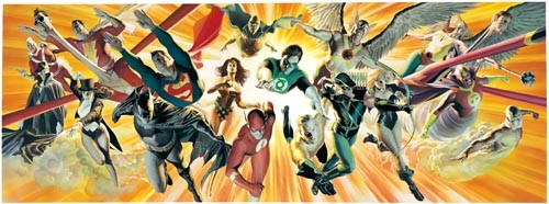 Hero-glyphs: A DC pantheon (detail) as rendered by Alex Ross