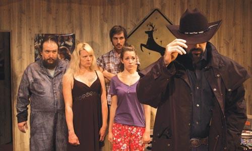 Hey, Joe: (in background, from left) John Gresh, Lissa Brennan, John Steffanauer and Hayley Nielsen, and (foreground) Patrick Jordan in barebones productions' Killer Joe. - ILYA GOLDIN