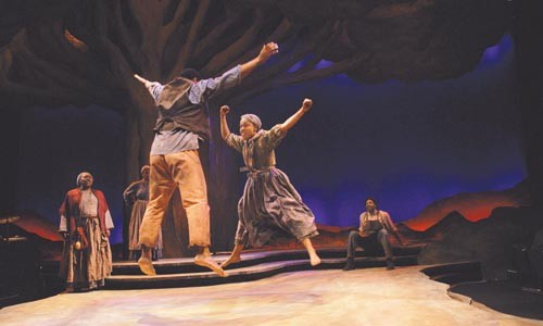Higher purpose: Joshua Elijah Reese and DeWanda Wise take to the air in City Theatre's Flight. - COURTESY OF JOHN SCHISLER