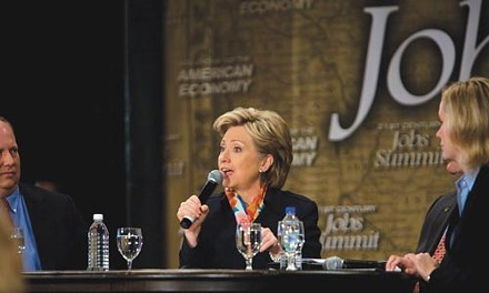 Hillary Clinton at the South Side's IBEW Hall, April 2 - RENEE ROSENSTEEL