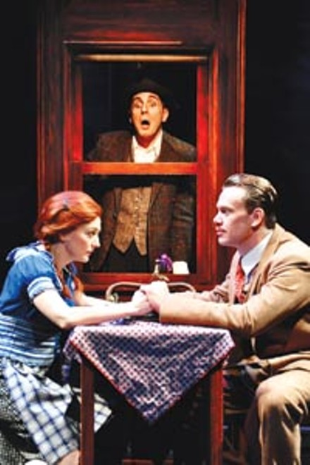 Hitchcocked: Rebecca Harris, Tom Beckett (background) and Sam Redford in City Theatre's The 39 Steps. - PHOTO COURTESY OF SUELLEN FITZSIMMONS