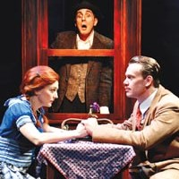 Hitchcocked: Rebecca Harris, Tom Beckett (background) and Sam Redford in City Theatre's <i>The 39 Steps</i>.