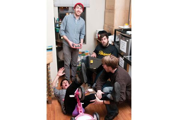 Holding up the Brillo box: Legs Like Tree Trunks (clockwise from top left: Matt Holden, Dave Shepherd, Tyler Donaldson, Dave Cerminara)