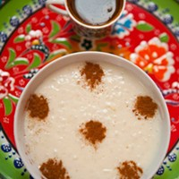 Daphne Housemade rice pudding and coffee Photo by Heather Mull