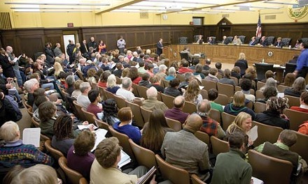 Hundreds packed into the meeting room of the Allegheny County Council to speak for and against a county-wide anti-discrimination bill. - BRIAN KALDORF