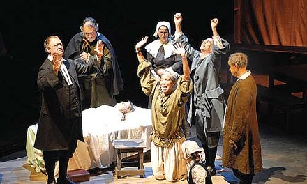 I put a spell on you: (from left to right) Jerry Summers, Dan Wyse, Deborah H. Wein, Angelo Gabriel Bruni,  Robert J. Roberts and (at center) Cynthia Dallas star in Prime Stage's The Crucible.