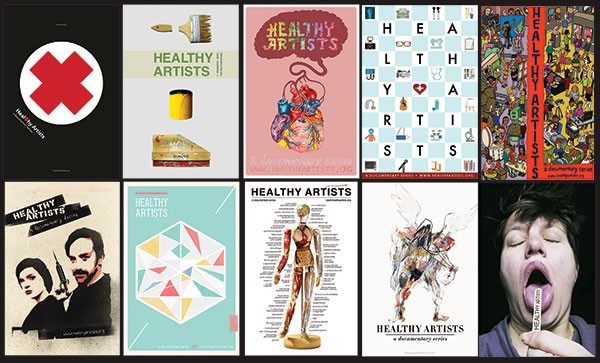 Images from the Healthy Artists poster competition, held earlier this year at ModernFormations Gallery. Clockwise from upper left: Art by Doug Dean; David Bernabo; Andy Scott; Jasen Lex; Lizzee Solomon; Jenn Gooch; Seth Clark; Jim Rugg; Mundania Horvath; and Stephanie Armbruster