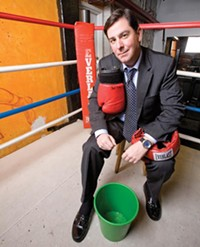 PHOTO BY HEATHER MULL - In 2007, Bill Peduto posed with boxing gloves; today he's using them to get in shape.