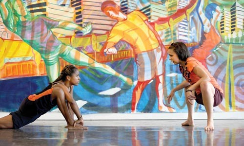 In rehearsal for the MLK dance mural. Photo courtesy of Werm's Eye View Productions.