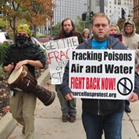 In the hole: Not all protests have drawn much support. An Oct. 26 march against natural-gas drilling attracted only a dozen protesters to the David L. Lawrence Convention Center.