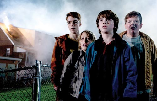 It just got real: (from left) Gabriel Basso, Ryan Lee, Joel Courtney and Riley Griffiths confront a dramatic development.