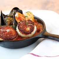 Jambalaya with dirty rice, diver scallops, wild shrimp and Prince Edward Island mussels