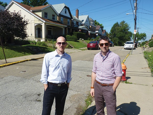 James Eash and Jason Kambitsis, of the Mount Washington CDC, say that homes on Eureka Street in Mount Washington recently sold for significantly higher than homes in nearby hilltop neighborhoods.