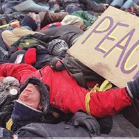 """January 2003: Peace protesters held a """"die-in"""" in Oakland to protest the coming Iraq war"""