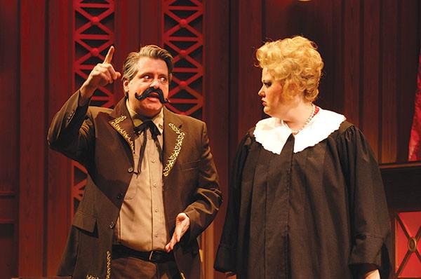 Jason Coll and Kara Mikula in Judge Jackie Justice, at Pittsburgh CLO
