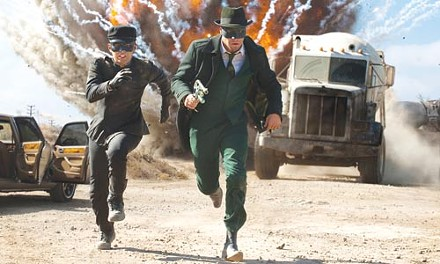 Jay Chou and Seth Rogen run away from a bomb.