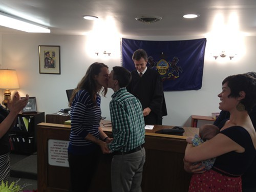 Jess Garrity, right, and Pamela VanHaitsma became the first same-sex couple to be legally married in Allegheny County
