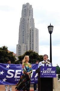 Joe Sestak at a campaign event in Oakland earlier this year