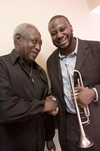 Jones with a personal hero, Pittsburgh jazz legend Roger Humphries - HEATHER MULL