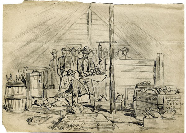"Joseph Becker's ""Distributing Thanksgiving Favors to the Soldiers of the Army of the Potomac During the Siege of Petersburg, November 24, 1864."""