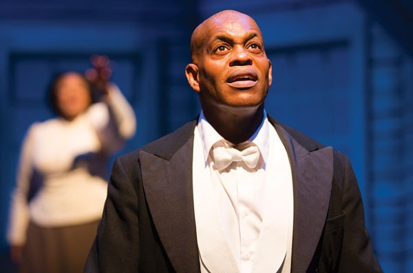 Jubilant Sykes (with Kecia Lewis in the background) in City Theatre's Breath & Imagination.