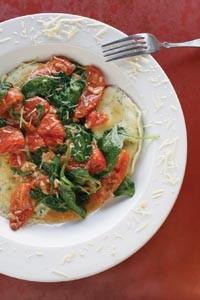 Jumbo ravioli Florentine with spinach, roasted tomatoes and roasted-garlic sauce - HEATHER MULL