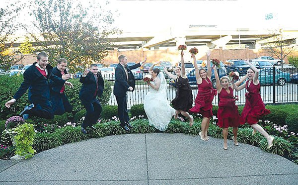 Jumping wedding party photos