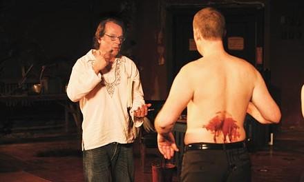 Just shoot me: Dan Jemmett (left) directs Jay in a death scene.
