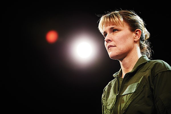Kelly McAndrew in Grounded, at City Theatre