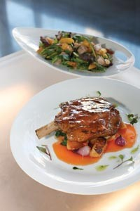 Kurobata Pork Chop with sauteed apple, pineapple and bell pepper; and Peking Suck salad with peanut dressing - HEATHER MULL