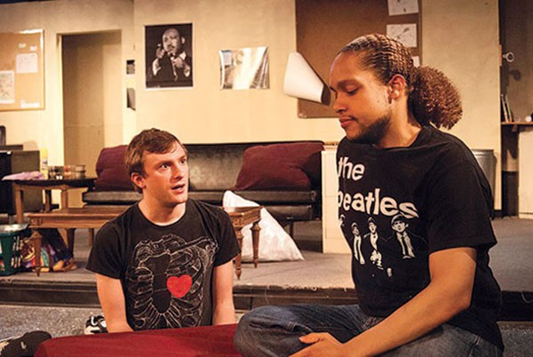 "Kyle Bogue (left) and Philip Anthony Wilson in ""Defense of Marriage,"" part of the Pittsburgh Pride Theater Festival."