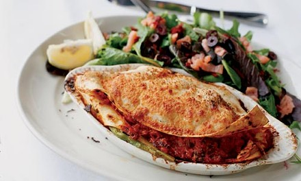 Lasagna with fresh salmon, wild mushrooms and asparagus - HEATHER MULL