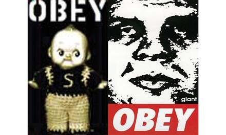 Left, the Steelerbaby image that prompted a cease-and-desist letter from a company representing Shepard Fairey, the artist who created the original OBEY poster, right.