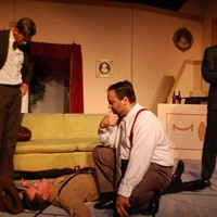 Left to right: Justin Robertsson, Tim Syciarz, Rocky Gettel and Frank Schurer in <i>A Slight Case of Murder</i>, at the Summer Company.